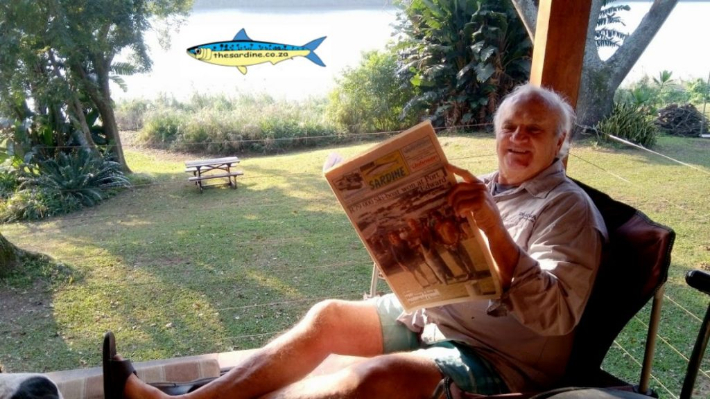 Brian Lange researching broadbill fishing in a 1991 copy of The Sardine News.
