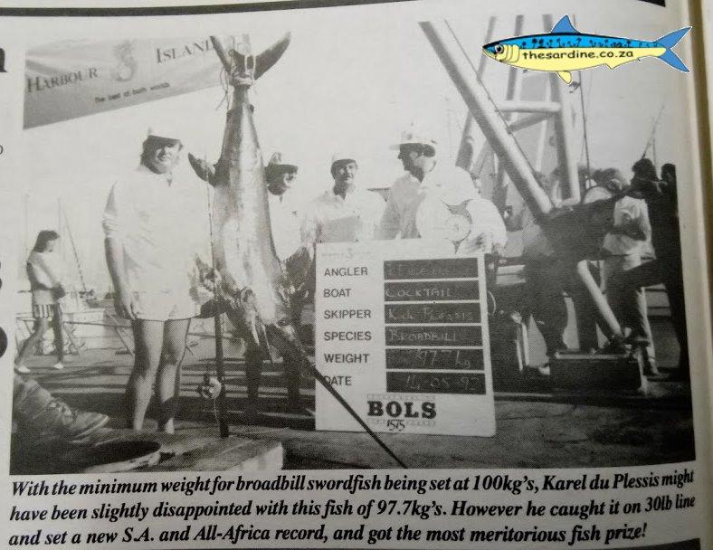 Karel du Plessis with his line class 30lb Africa and SA record broadbill swordfish